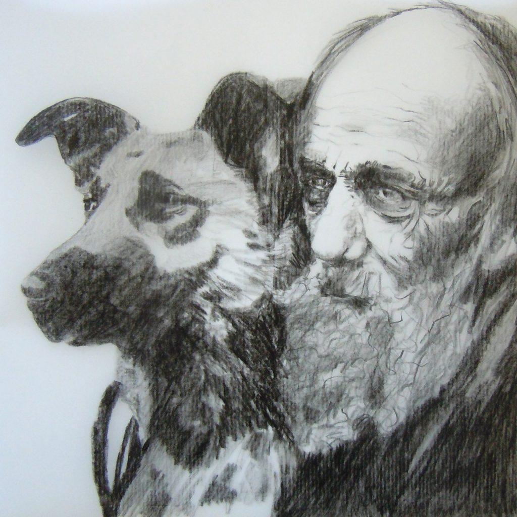 Alter Mann mit Hund, 30 x 30 cm, Bleistift auf Papier