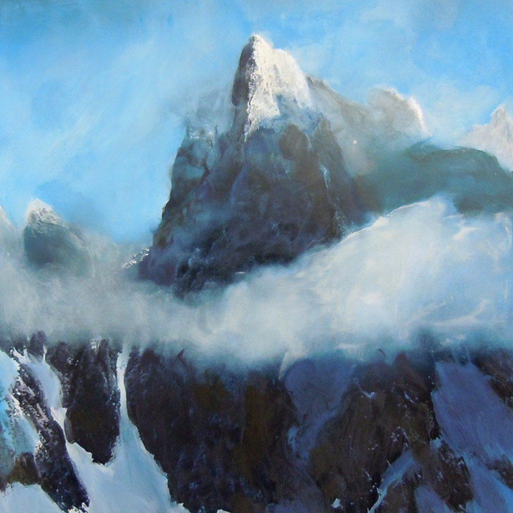 Bergwelt, 30 x 30 cm, Mischtechnik auf Papier