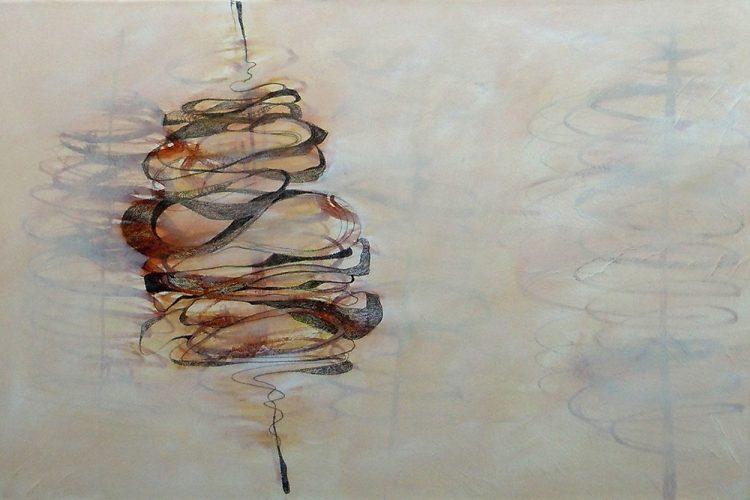 Spindeln 6 (Versuchungen), 40 x 60 cm, Mischtechnik, 2014