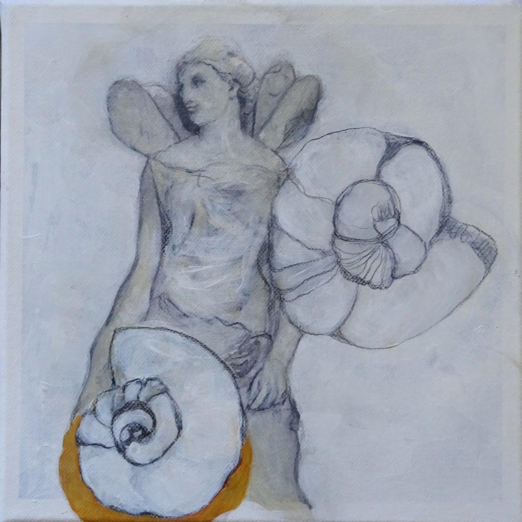 Angel, 20 x 20 cm, Mischtechnik auf Leinen, 2017