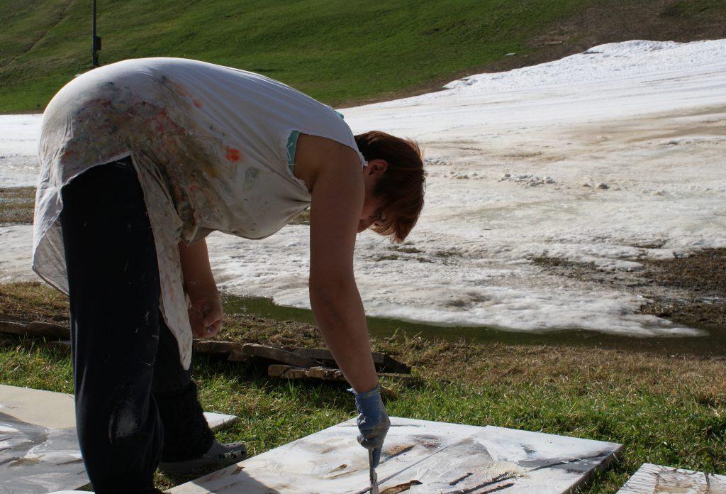 Symposion, Marika Wille-Jais bei der Arbeit, 2011