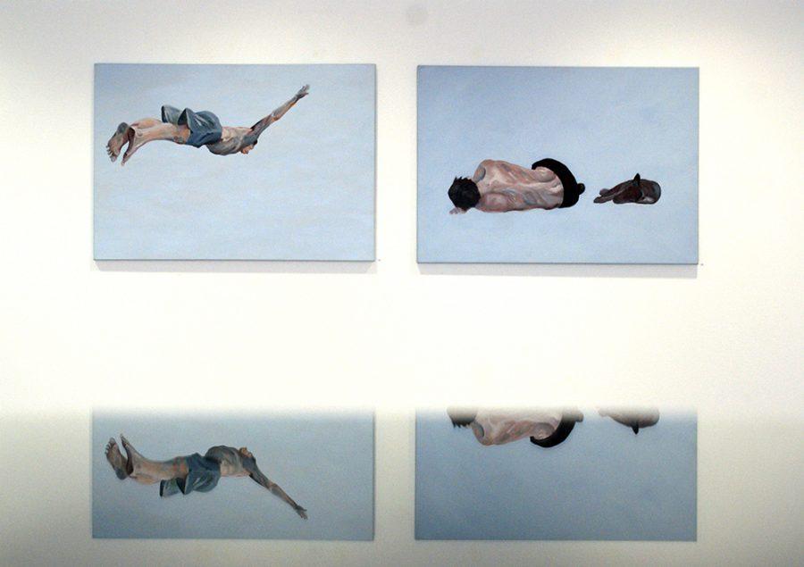 Flugverhalten 2-fach, Bilder je 70 x 100 cm, Acryl auf Leinen, 2012