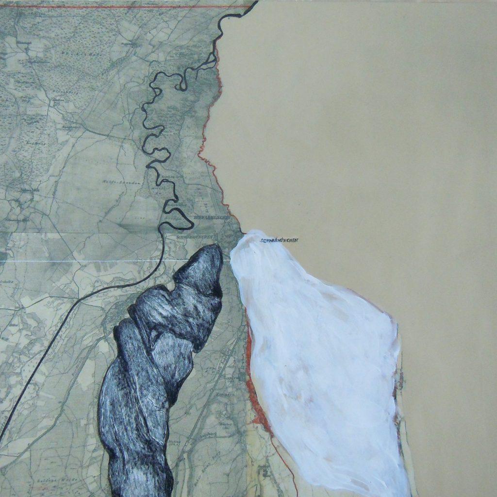 Energielinie, 30 x 30 cm, Mischtechnik, 2017