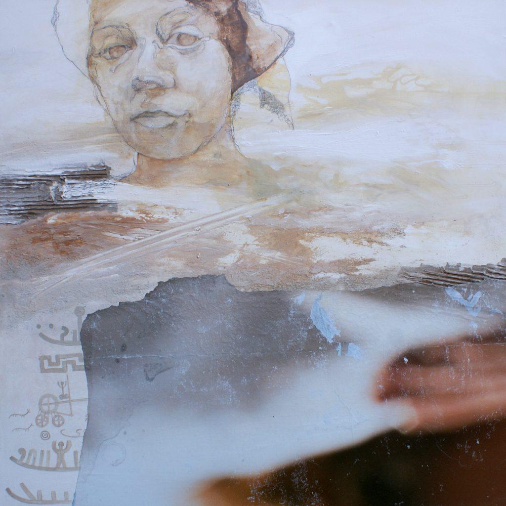 Die Wüstenfrau, 100 x 100 cm, Mischtechnik, 2010