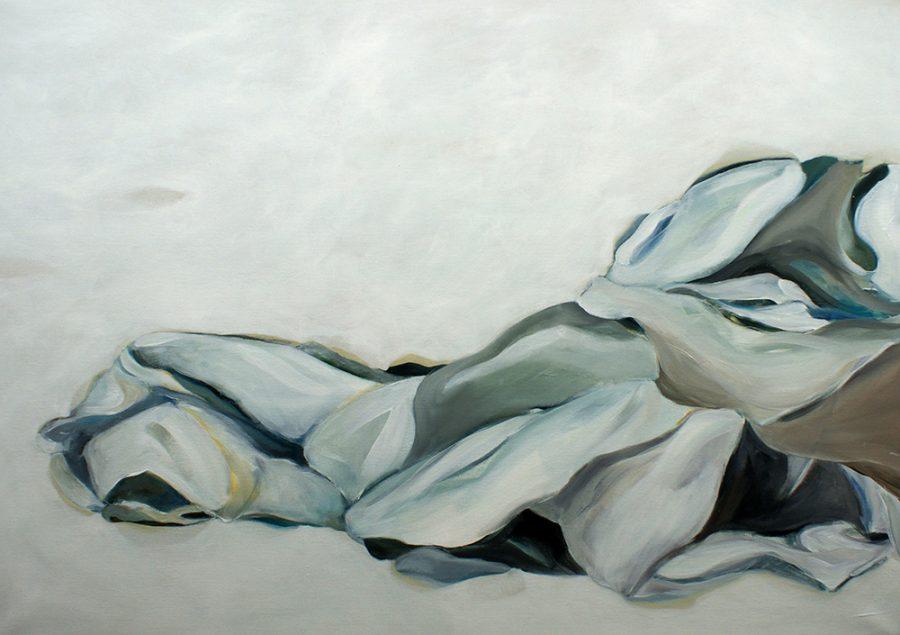 Zwischen Schnee und Tuch, 70 x 100 cm, Acryl auf Leinen, 2017