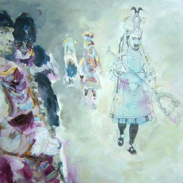 Fasnacht Nassereith, Schiane, 70 x 70 cm, Mischtechnik, 2008