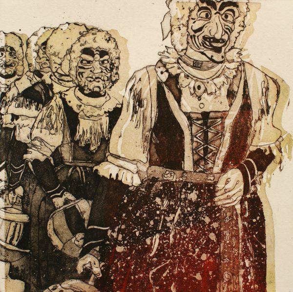 Schemenlauf Imst, Sackner, 15 x 15 cm, Radierung, Linolschnitt, 2009