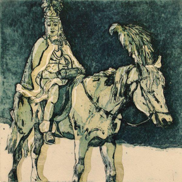 Schemenlauf Imst, Spritzer, 15 x 15 cm, Radierung, Linolschnitt, 2009