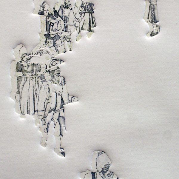 Schemenlauf Imst, Kreis, 15 x 15 cm, Radierung, Linolprägung, 2009
