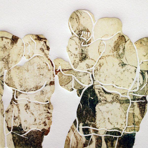 Schemenlauf Imst, Bärentreiber, 15 x 15 cm, Radierung, Linolprägung, 2009