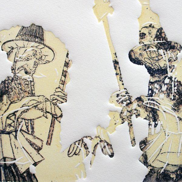 Schemenlauf Imst, Lagge, 15 x 15 cm, Radierung, Linolprägung, 2009