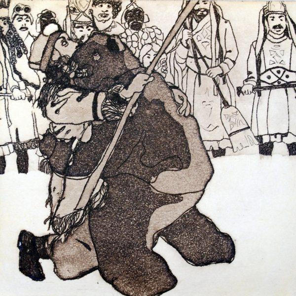 Fasnacht Nassereith, Bärenkampf, 10 x 10 cm, Radierung, AL6, 2008