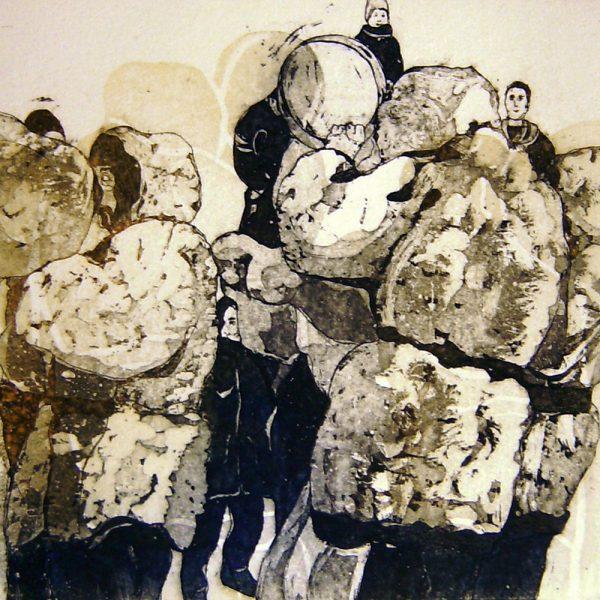 Schemenlauf Imst, Bärentreiber, Schiane, 15 x 15 cm, Radierung, Linolschnitt, 2009