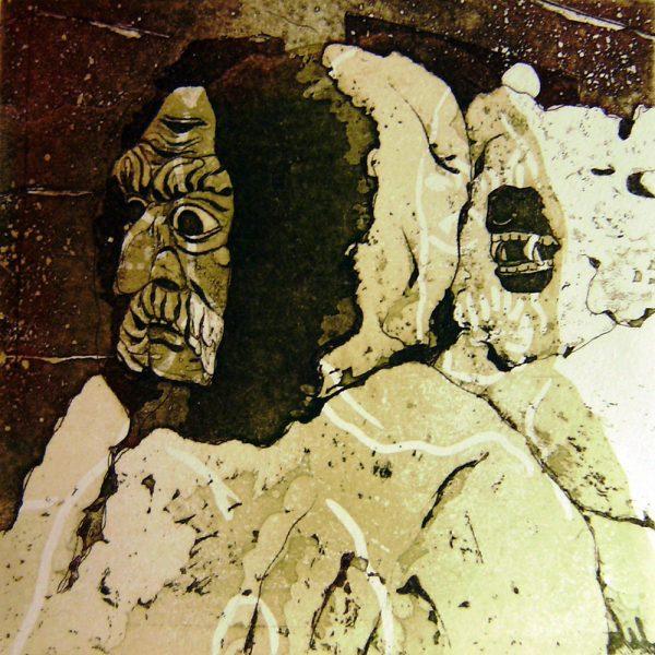 Schemenlauf Imst, Bär und Treiber, 15 x 15 cm, Radierung, Linolschnitt, 2009