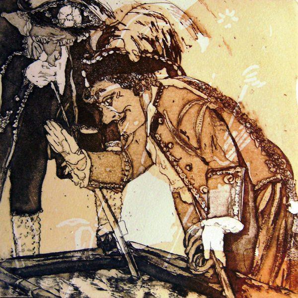 Schemenlauf Imst, Franken, 15 x 15 cm, Radierung, Linolschnitt, 2009
