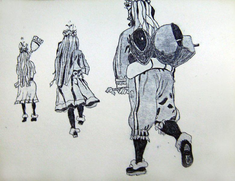 Fasnacht Nassereith, Schiane, 12 x 16 cm, Radierung, AL6, 2008
