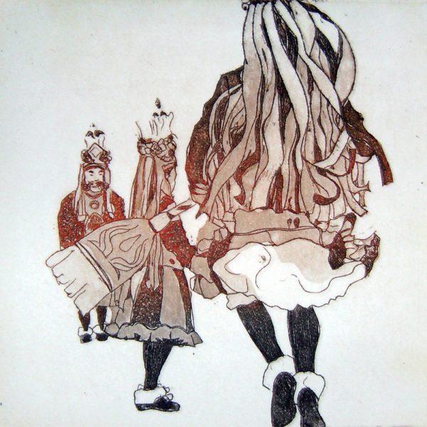 Fasnacht Nassereith, Schiane, 10 x 10 cm, Radierung, AL6, 2008