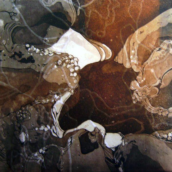 Geburt, 20 x 20 cm, Radierung, Linolschnitt, 2007