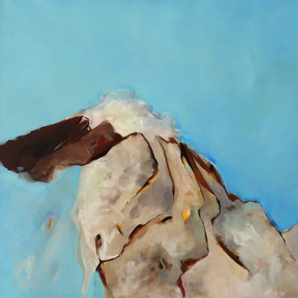 Hase und Berg, 70 x 70 cm, Acryl auf Leinen, 2006