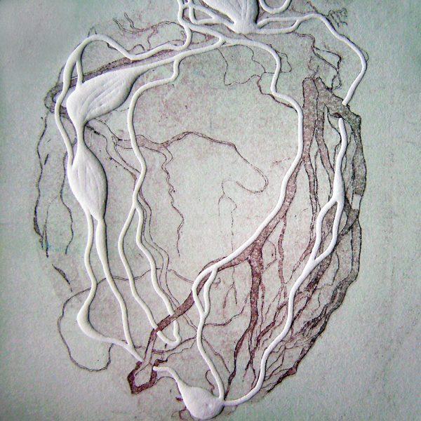 Das Wesen, 20 x 20 cm, Radierung, Linolprägung, 2007