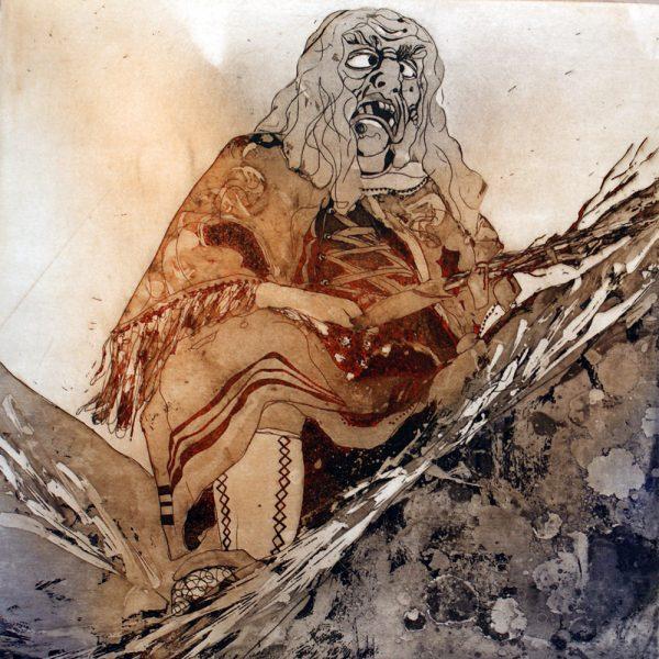 Fasnacht Nassereith, Hexenmuatta, 20 x 20 cm, Radierung, AL6, 2008