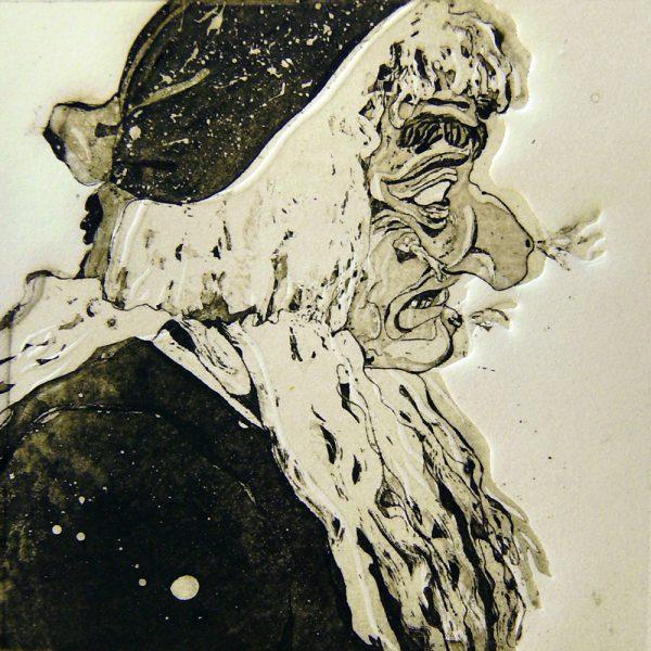 Schemenlauf Imst, Hexe, 15 x 15 cm, Radierung, Linolschnitt, 2009