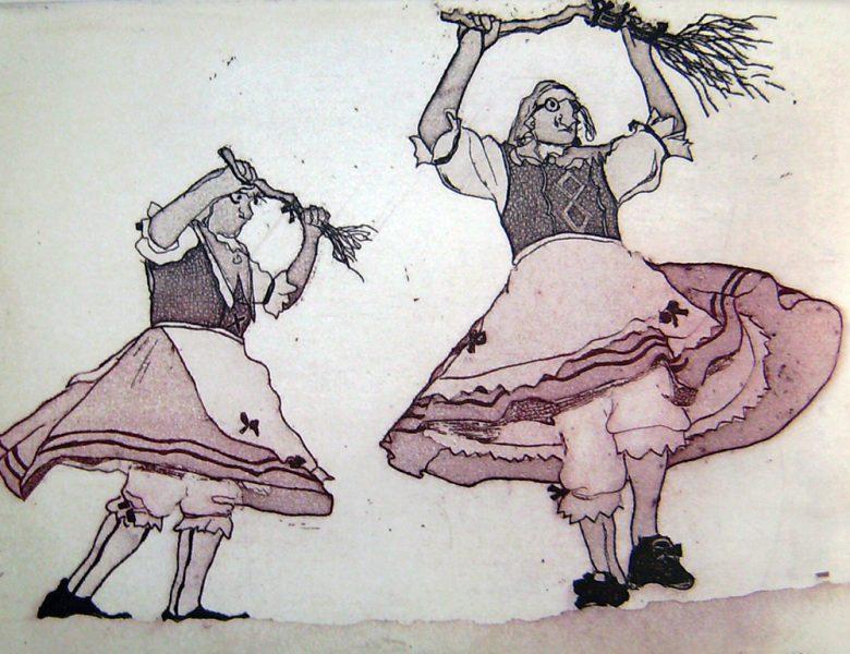 Fasnacht Nassereith, Hexen, 12 x 16 cm, Radierung, AL6, 2008