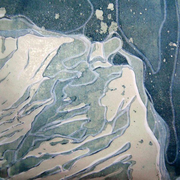 Insular/Dämmerung, 20 x 20 cm, Radierung, Linolprägung, 2007