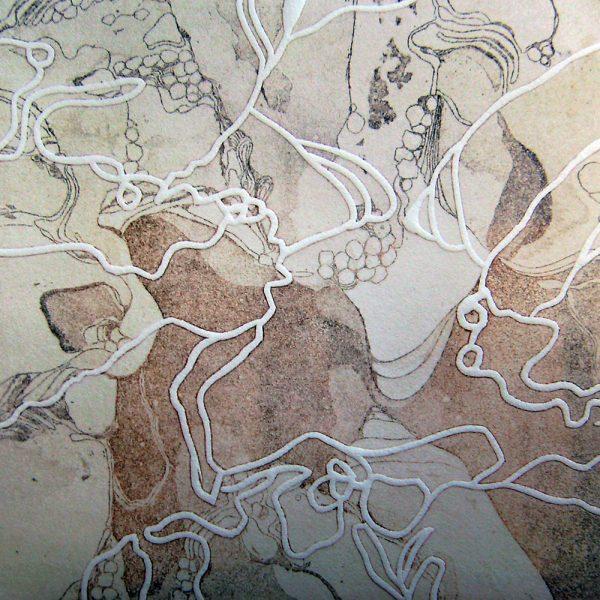 Innenwelt beflügelt, 20 x 20 cm, Radierung, Linolprägung, 2007