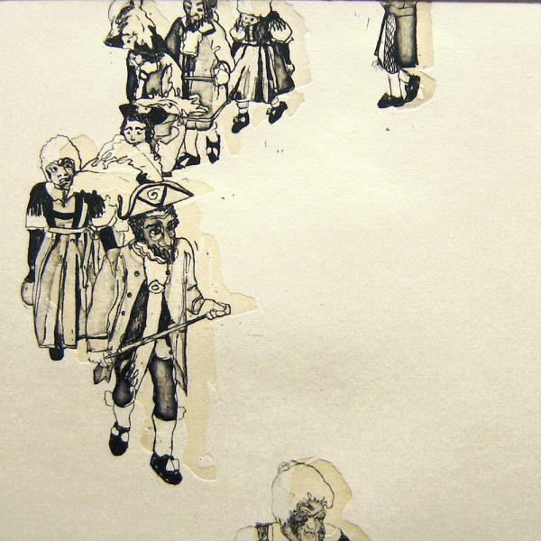 Schemenlauf Imst, Kreis, 15 x 15 cm, Radierung, Linolschnitt, 2009