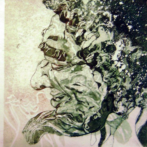 Schemenlauf Imst, Franke, 15 x 15 cm, Radierung, Linolschnitt, 2009