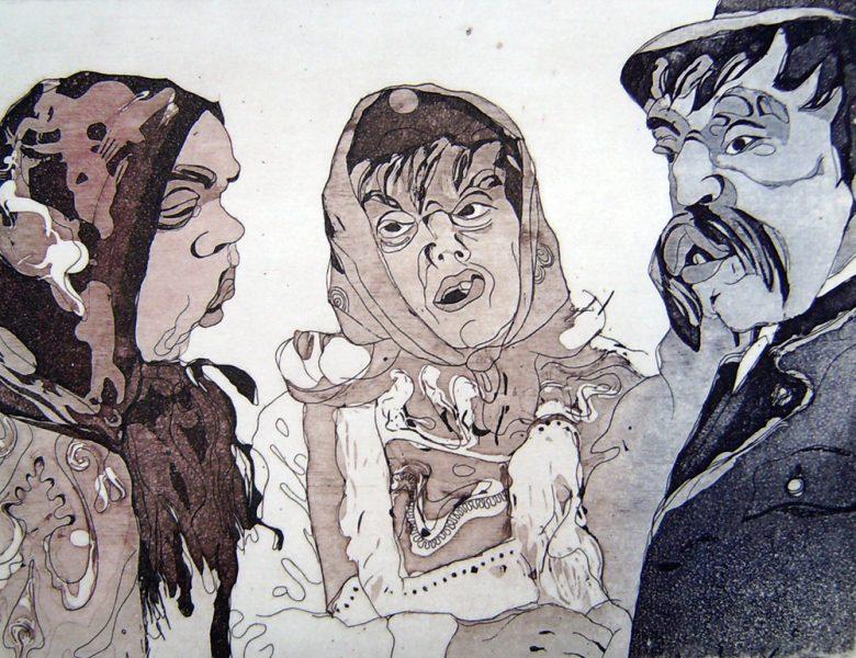 Fasnacht Nassereith, Lapple, 12 x 16 cm, Radierung, AL6, 2008