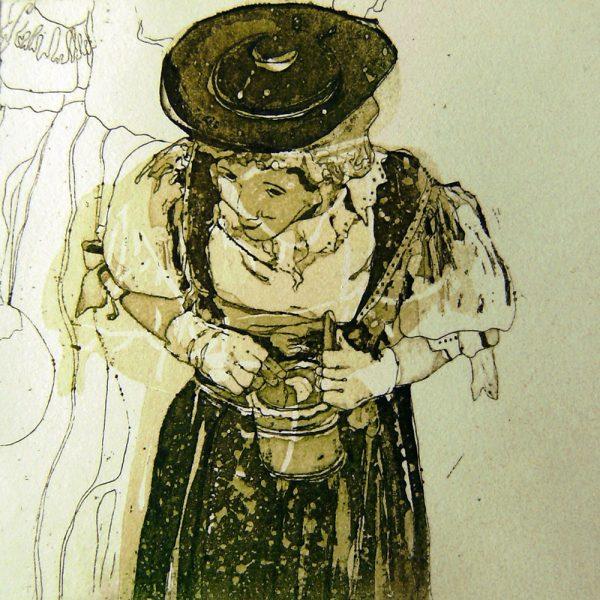 Schemenlauf Imst, Maje, 15 x 15 cm, Radierung, Linolschnitt, 2009