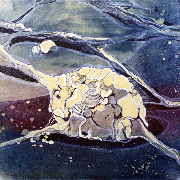 Nerventierchen, 20 x 20 cm, Radierung, Linolprägung, 2007