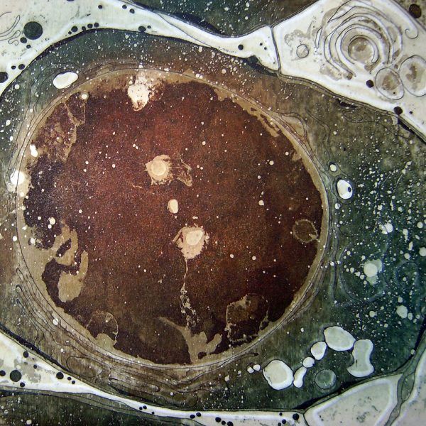 Universum, 20 x 20 cm, Radierung, Linolprägung, 2007