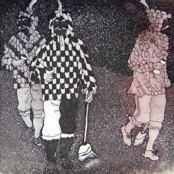 Fasnacht Nassereith, Ruassler, 10 x 10 cm, Radierung, AL6, 2008