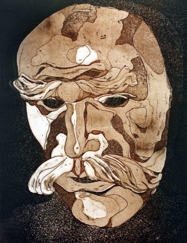 Fasnacht Nassereith, Ruassler, 16 x 12 cm, Radierung, AL6, 2008