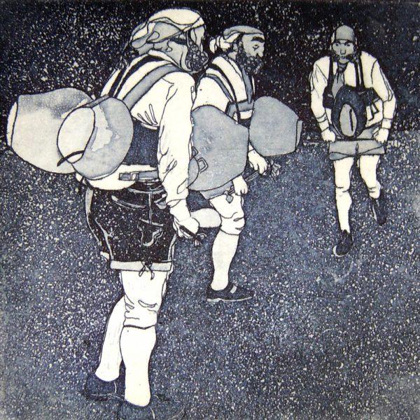 Fasnacht Nassereith, Schaller, 10 x 10 cm, Radierung, AL6, 2008