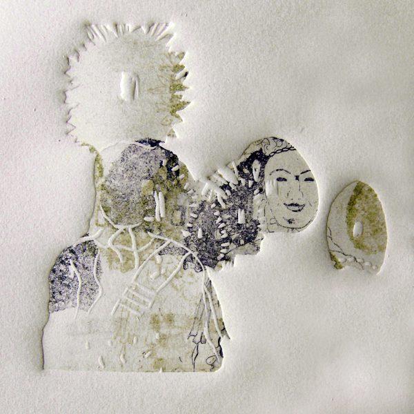 Schemenlauf Imst, Schiane, 15 x 15 cm, Radierung, Linolprägung, 2009