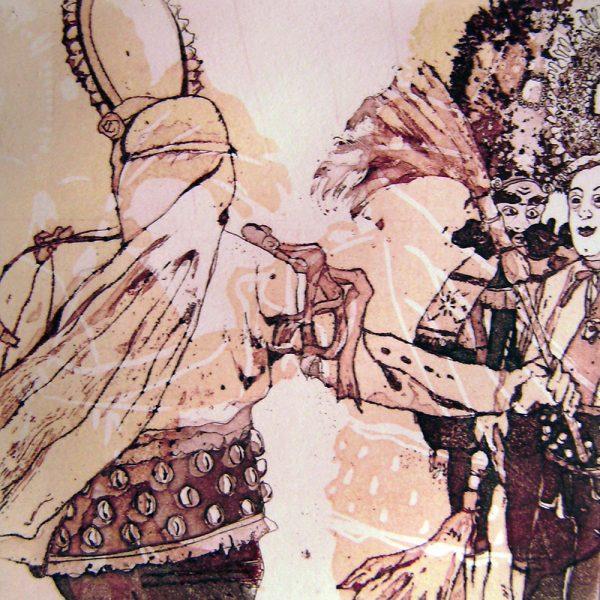 Schemenlauf Imst, Schiane, 15 x 15 cm, Radierung, Linolschnitt, 2009