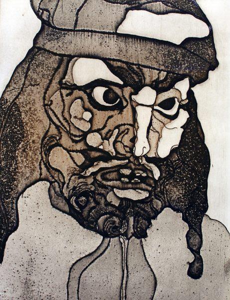 Fasnacht Nassereith, Treiber, 16 x 12 cm, Radierung, AL6, 2008