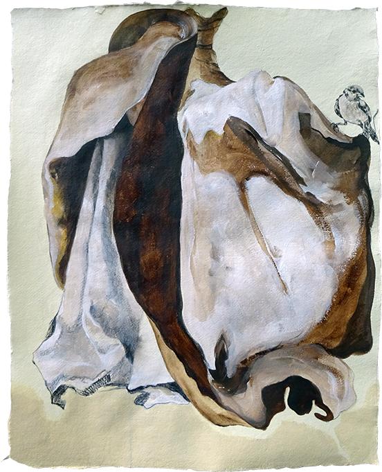 Palimpsest, 56 x 46 cm, Acryl auf Büttenpapier, 2018