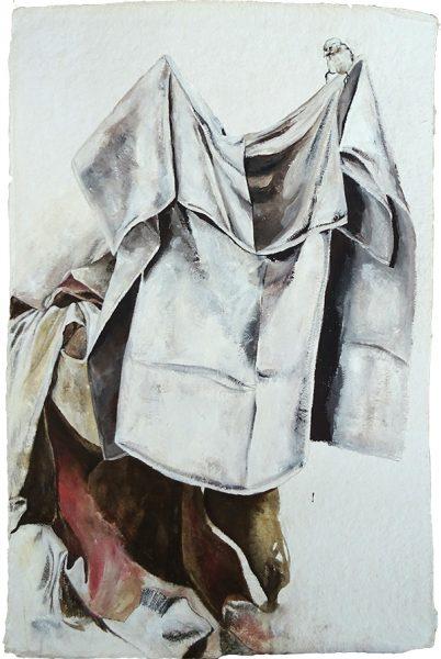 Susanna im Bade (an R. Peale), 110 x 77 cm, Mischtechnik auf Büttenpapier, 2018