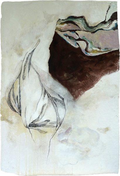 Inkarnat und Faltenwurf (an Raffael), 110 x 77 cm, Mischtechnik auf Büttenpapier, 2018