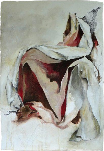 Im Schleier des Unsichtbaren (an Dürer), 110 x 77 cm, Mischtechnik auf Büttenpapier, 2018