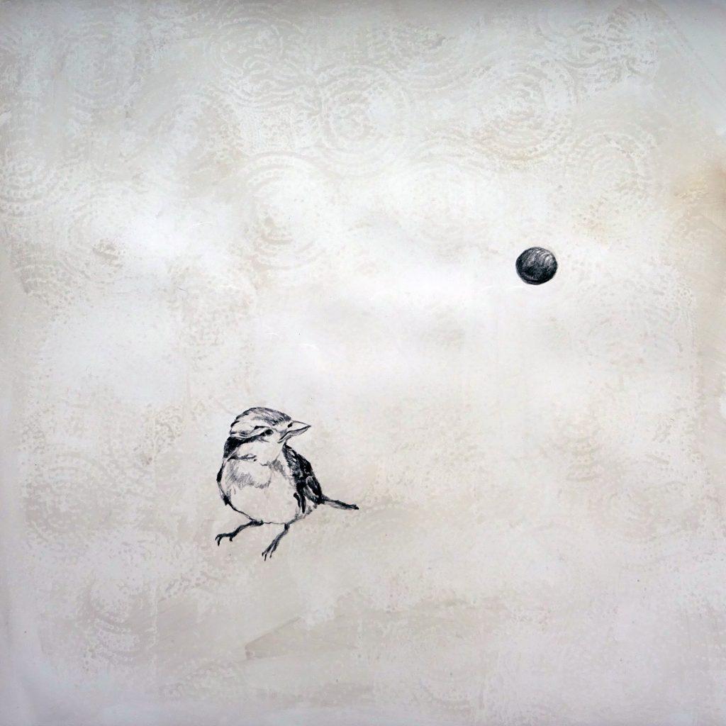 Old love and the moon (Istanbul), 30 x 30 cm, Mischtechnik auf Papier, 2018