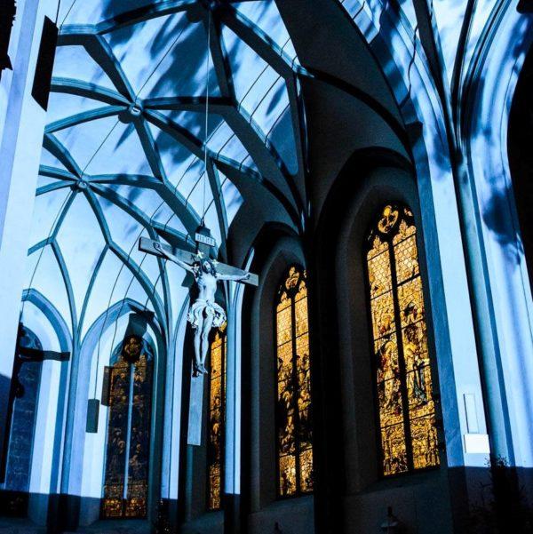 Abschlusskonzert und Mapping in der Pfarrkirche Imst, Philipp Lingg, Christoph Mateka, Arnold Meusburger und Harald Schwarz. Foto: © Thomas Böhm Phogographie 2019