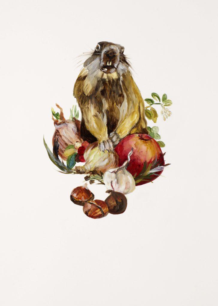 Tannenhof | Gustav Jantschers Welt 11/17, 25,6 x 18,2 cm, Acryl auf Papier, 2020.