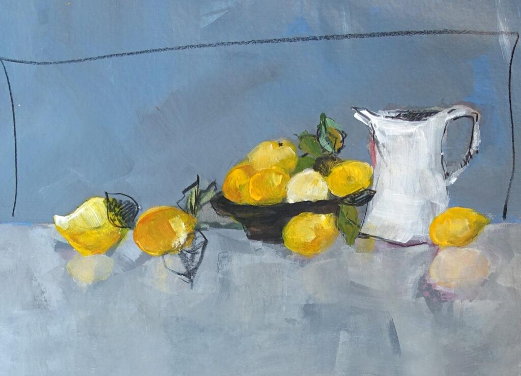 Zitronen mit Krug, 13x18 cm, Mischtechnik auf Papier, 2018.