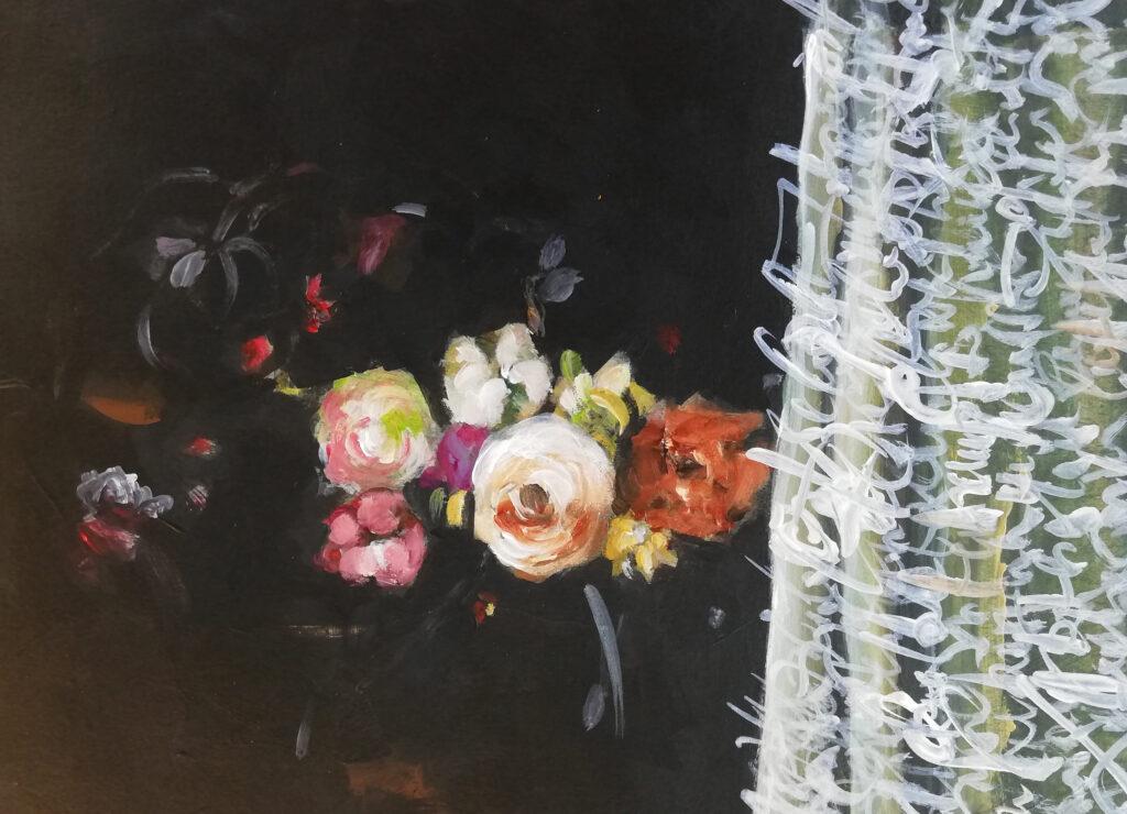 Impressed by Adrian von der Spelt, 13x18 cm, Acryl auf Papier, 2020.
